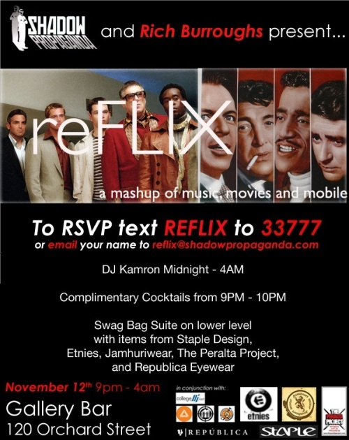 One of the online party flyers for ReFLIX courtesy of Ben Tannenbaum