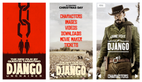 Django Unchained app screenshots