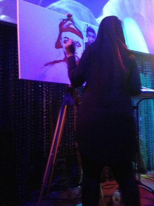 Ameerah K paints a portrait of J Dilla live.