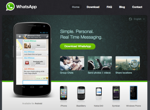 WhatsApp home page