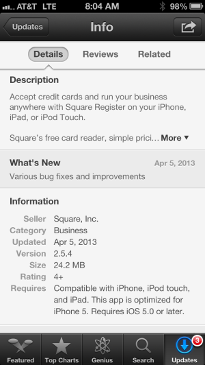 Square Register update.
