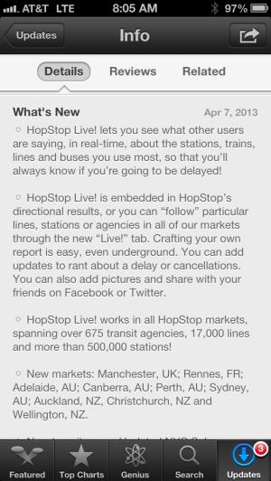 HopStop app update