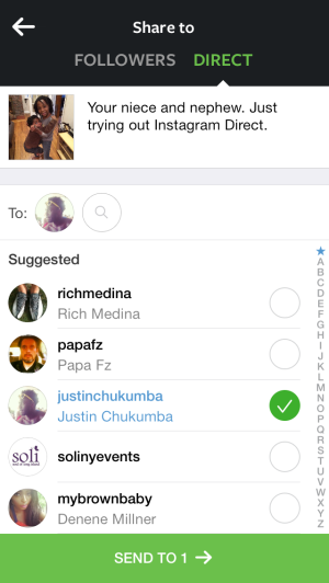 Instagram Direct Share To List