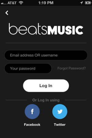 Beats Music Log In Facebook or Twitter
