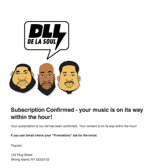 De La Soul subscription confirmation