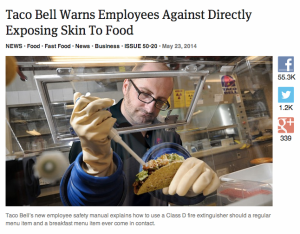 Taco Bell warns employees not to touch food
