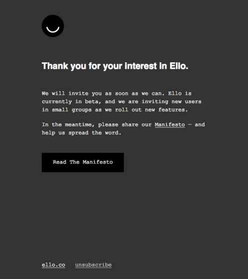 "I was hoping for a ""Welcome to Ello"" message. Instead, I got this. SMH"