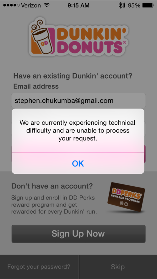 Dunkin' app technical difficulties
