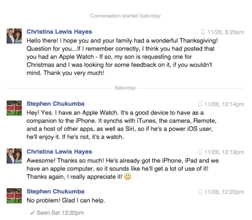 Apple Watch praise