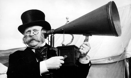 Man uses an ear trumpet